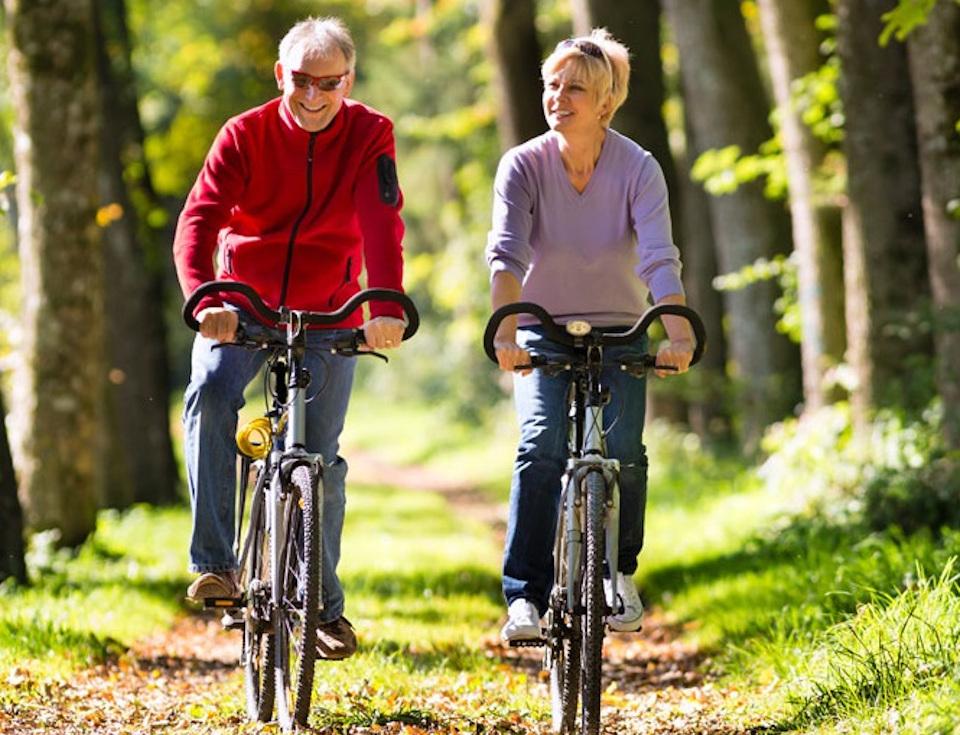 Senior Couple riding bike